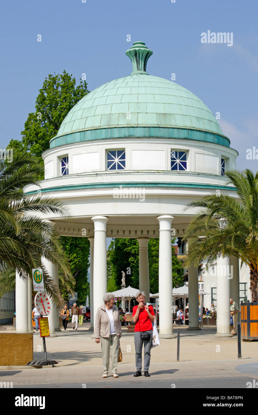 pump room Der Hyllige Born at Bad Pyrmont in the Weser Hills in Germany - Stock Image