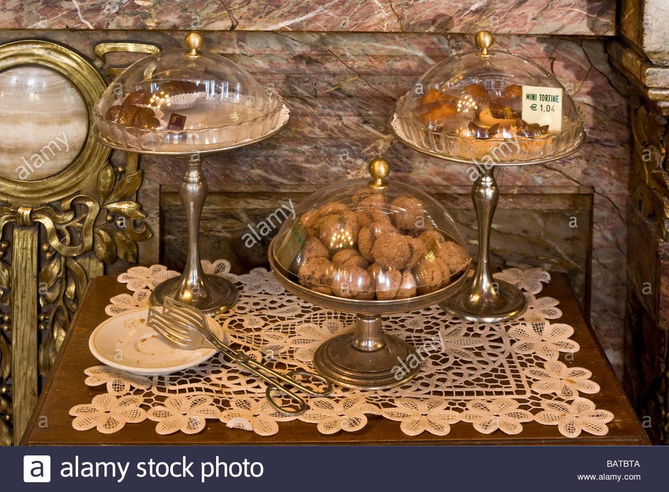 desserts  caff mulassano  turin  italy - Stock Image