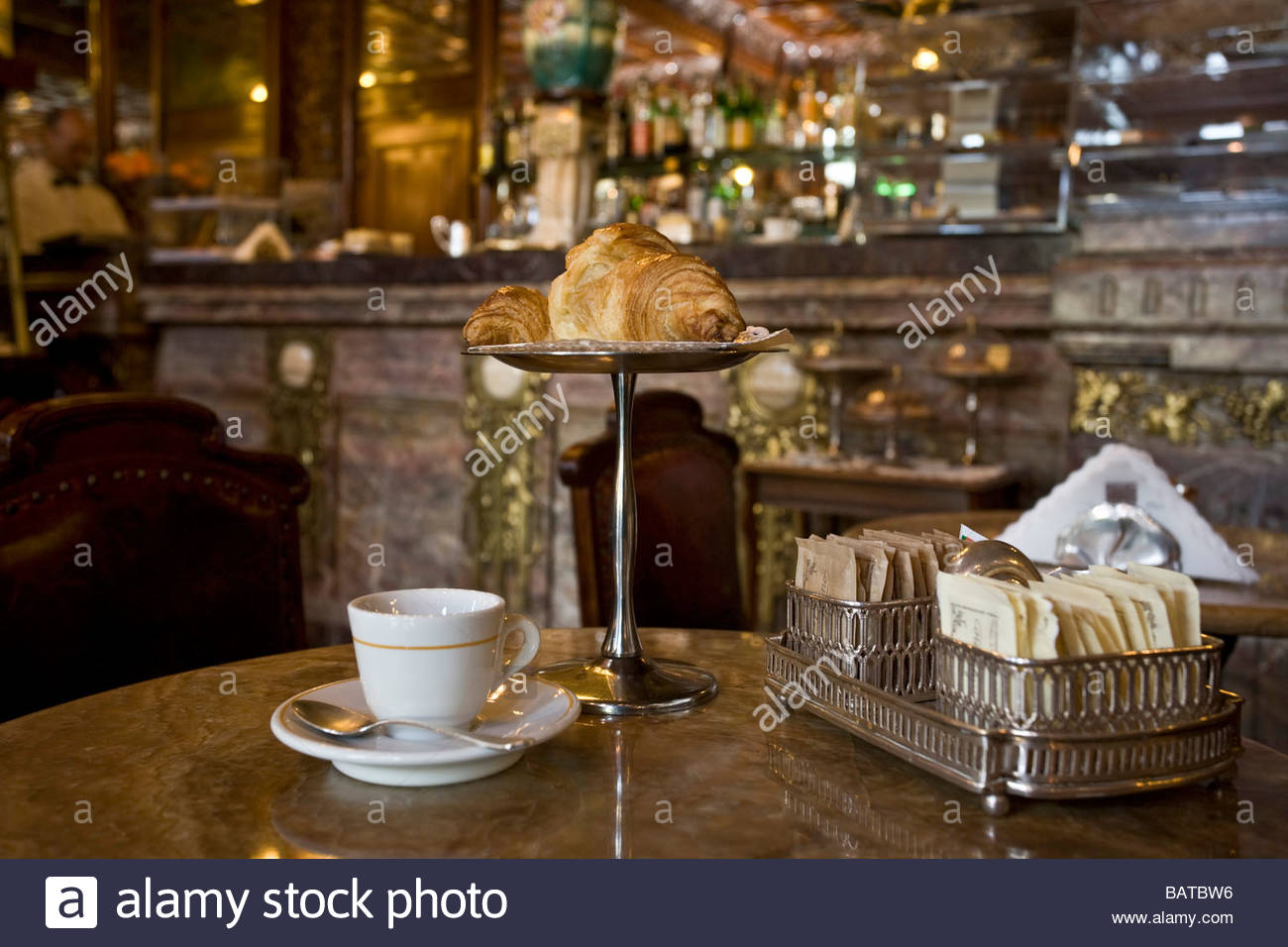 coffee and brioche  caff mulassano  turin  italy - Stock Image