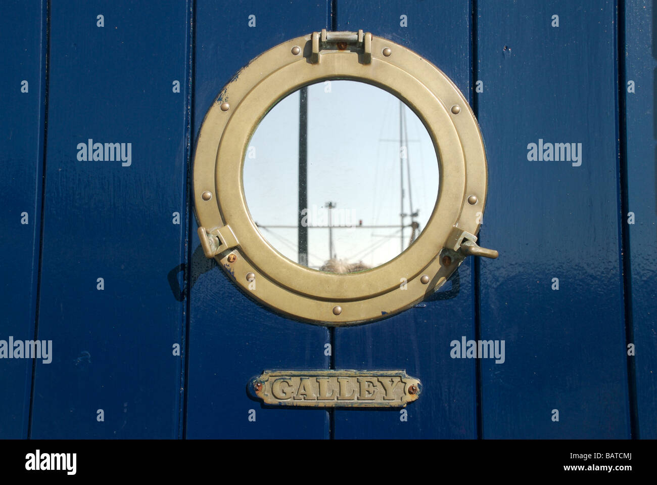 Porthole mirror and Galley sign on door Barbican Plymouth Devon UK & Porthole mirror and Galley sign on door Barbican Plymouth Devon ...