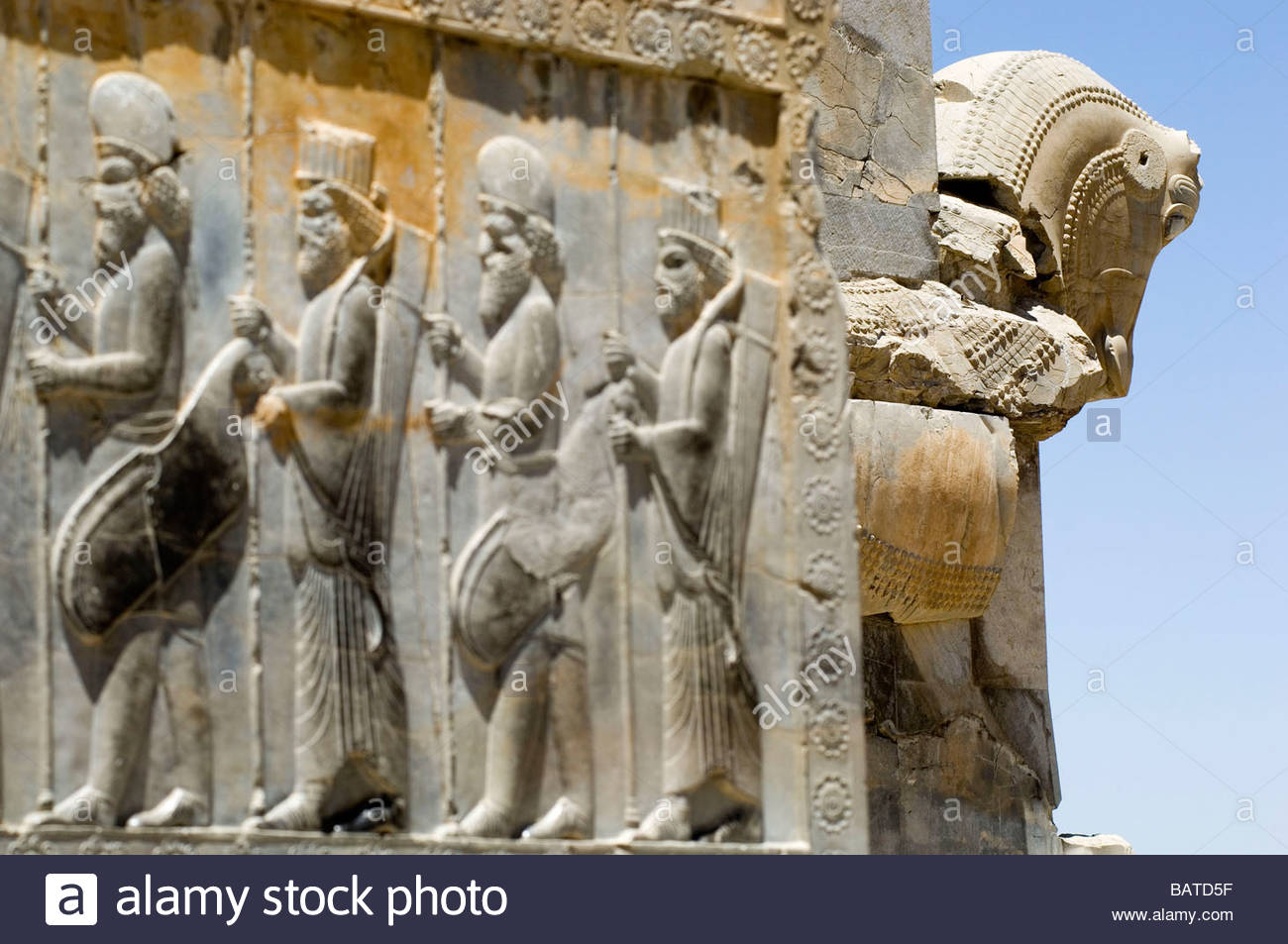 Bas-reliefs - Ruins of the Persian empire Persepolis,Iran - Stock Image