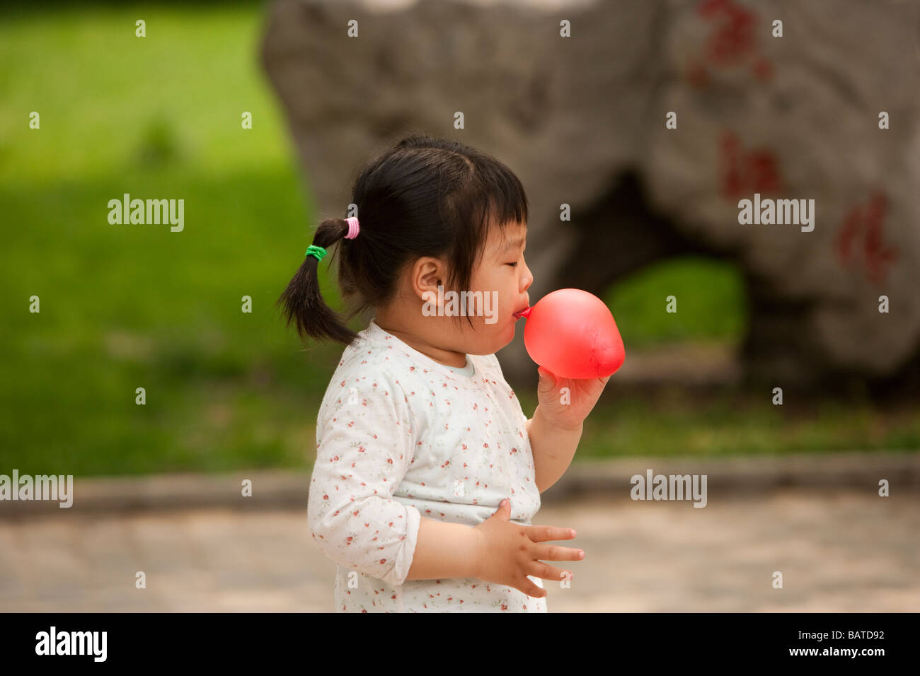 Beijing, China: A small girl blows up a red baloon  in the park by  a university campus. - Stock Image