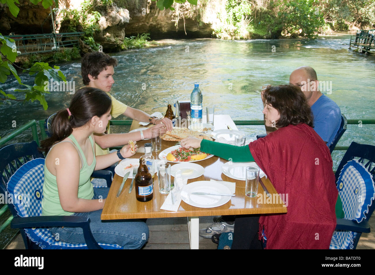 Turkey Antalya Upper Duden River A family at a fish restaurant on the river front Model Release Available - Stock Image