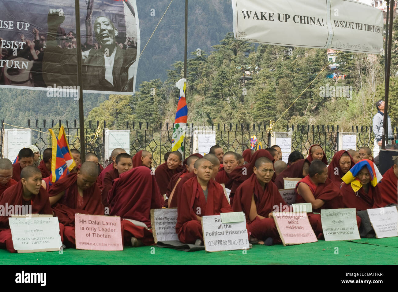 Tibetan Buddhist Nuns protesting peacefully after fifity years of asylum in India at Mceod Ganj, Dharamsala, India - Stock Image
