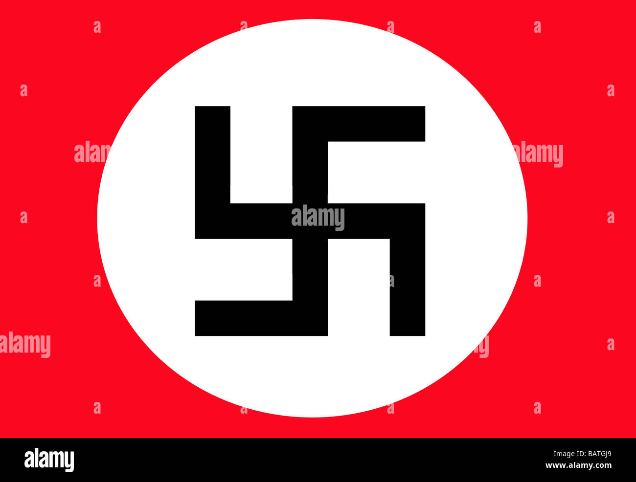 Illustration of black Swastika in white circle on red background - Stock Image