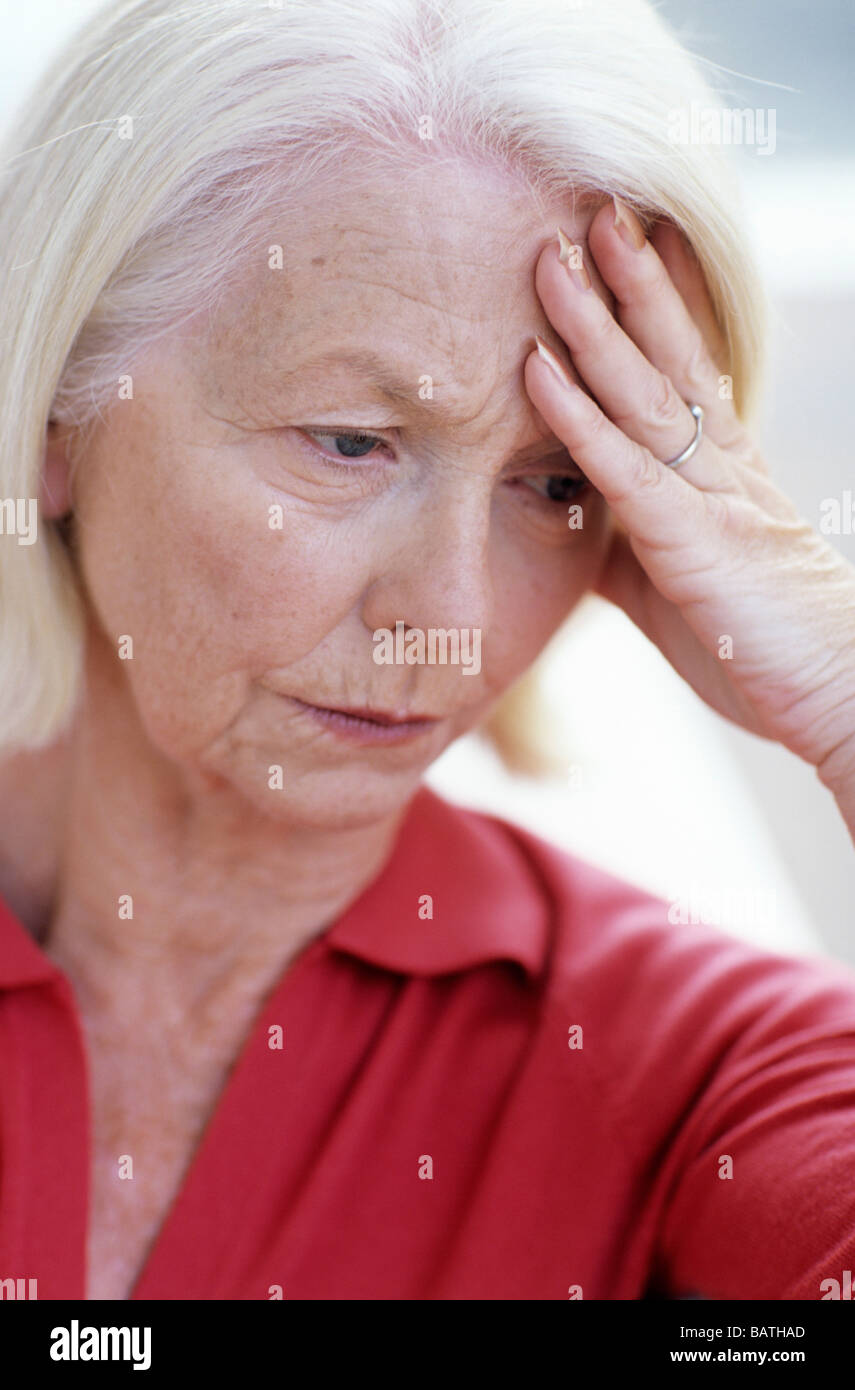 Depressed Woman 63 Year Old Woman Looking Unhappy Stock