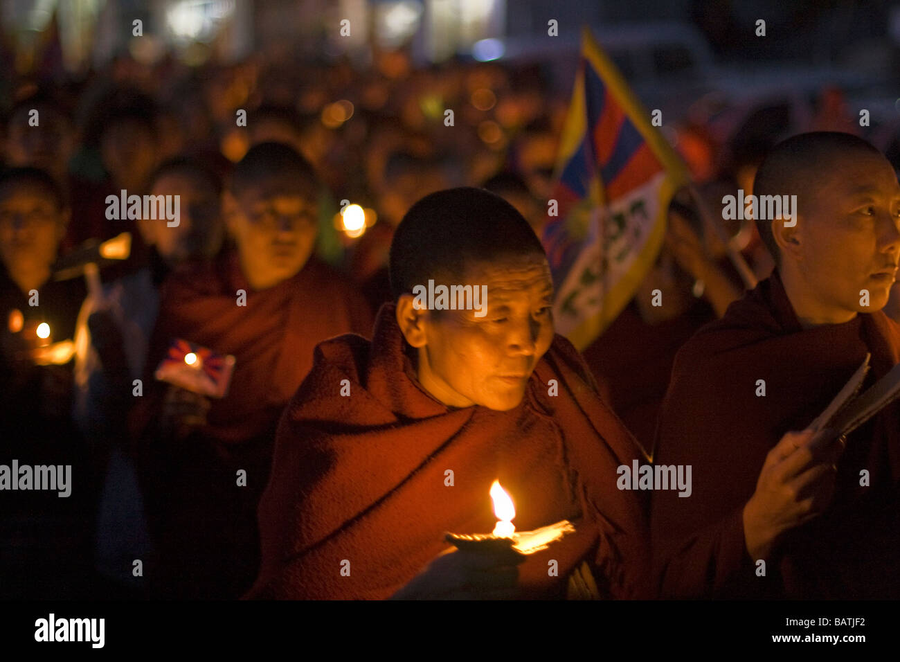 Tibetans marching on a candlelight vigil in Mcleod Ganj, Dharamsala, India - Stock Image