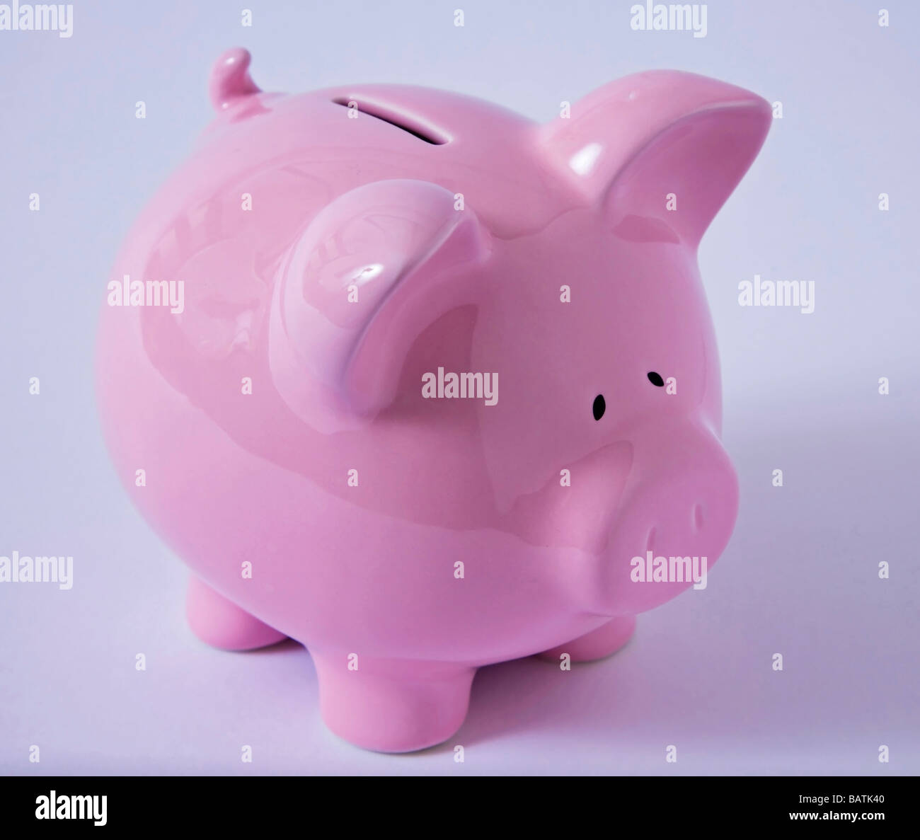 'piggy bank' 'money box' 'saving money' 'credit crunch' - Stock Image