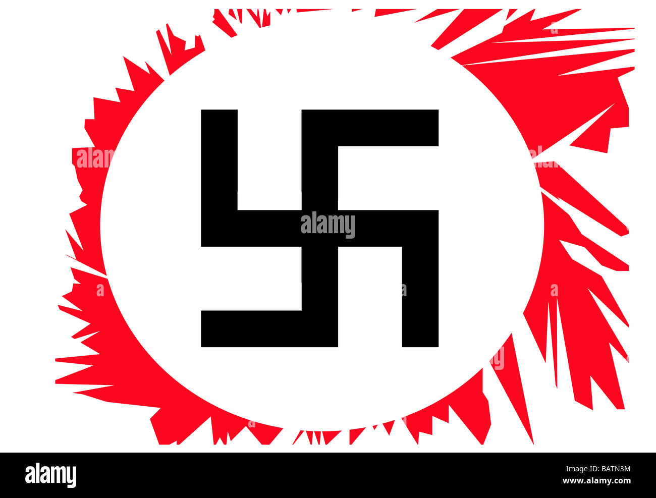 Illustration of black torn Swastika in white circle on red background - Stock Image