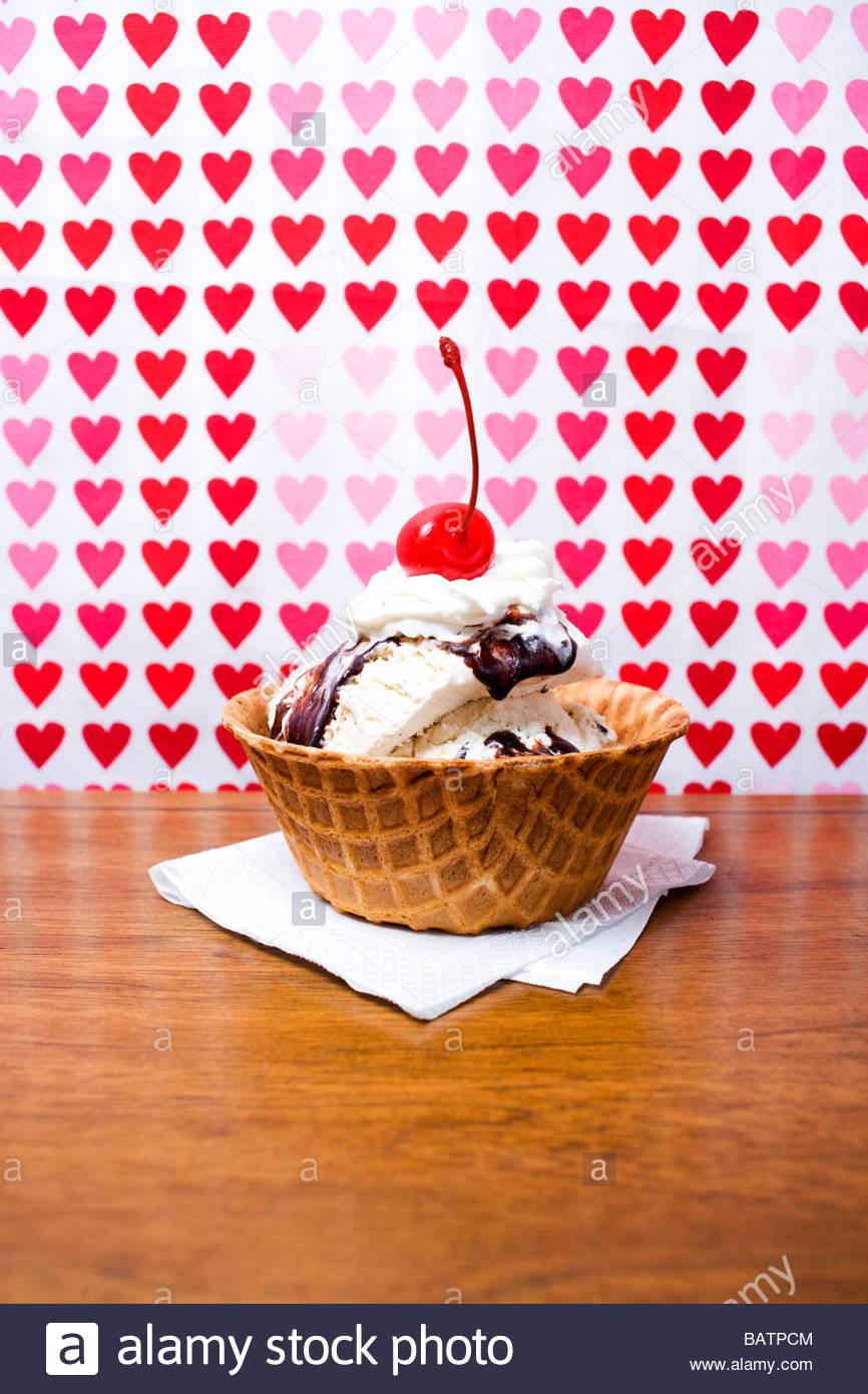 Ice cream sundae in waffle bowl Stock Photo
