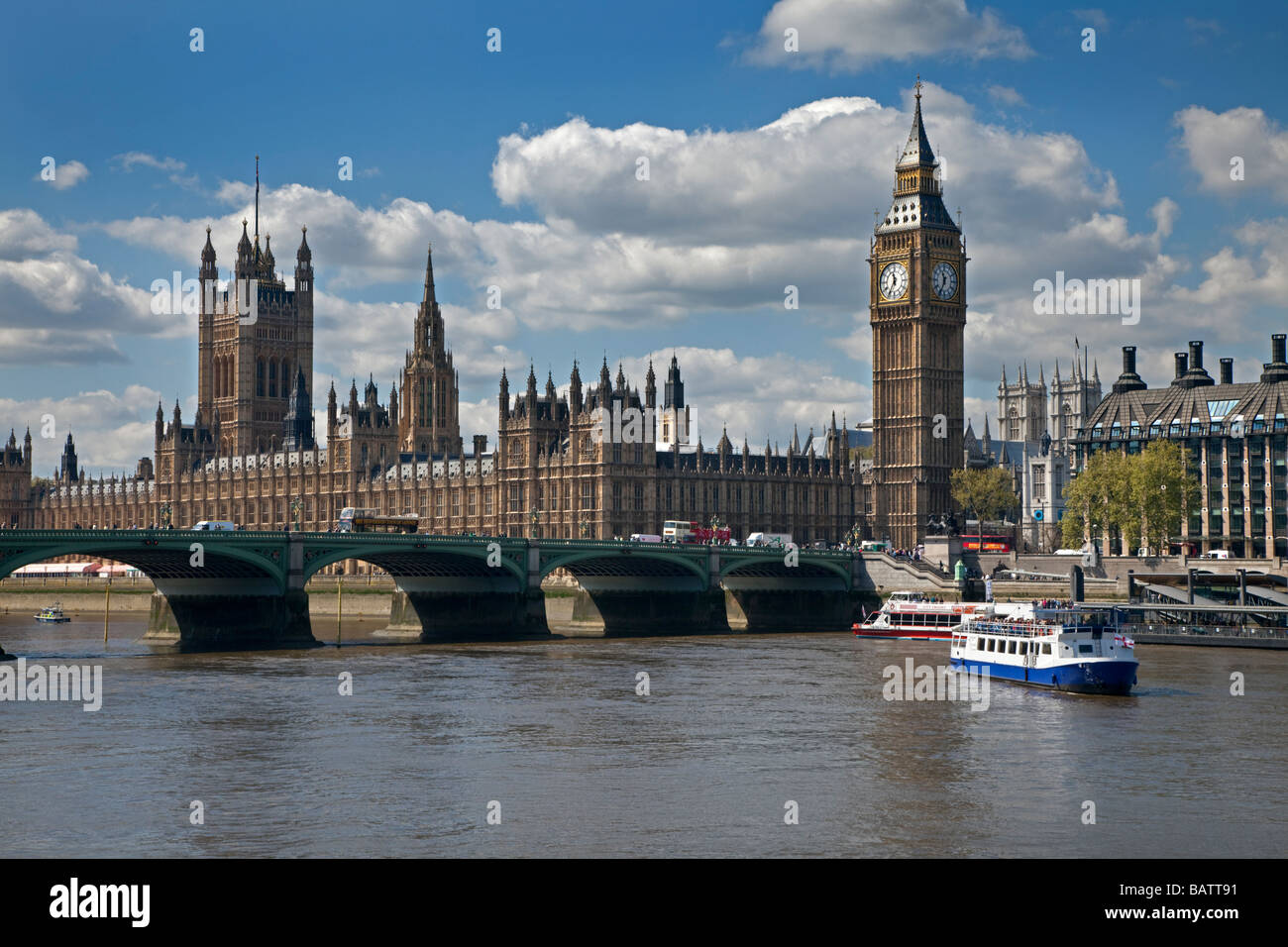 Houses of Parliament, Big Ben, River Thames and Tower Bridge, Westminster, London, England - Stock Image