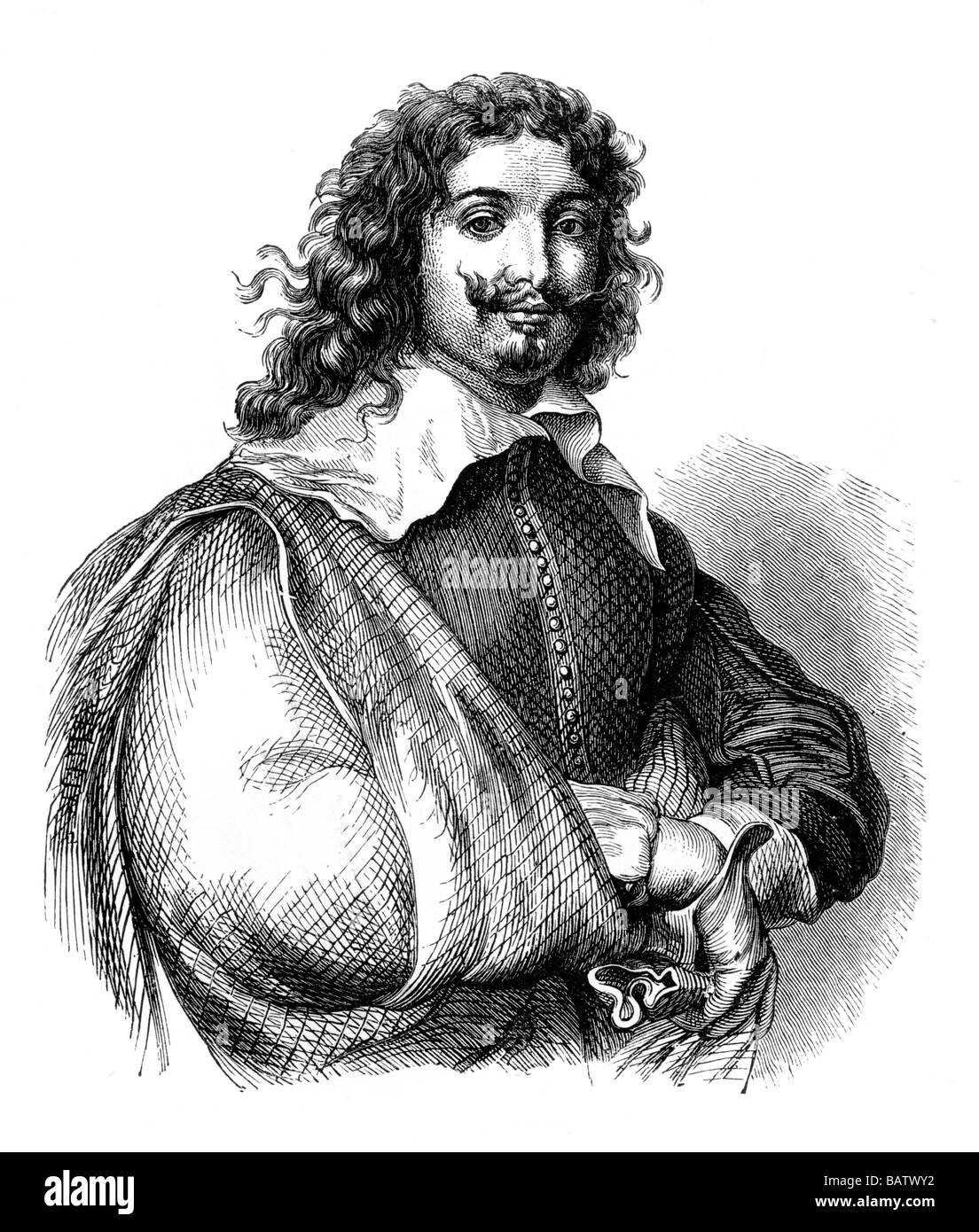 Portrait Illustration of Adrian Brouwer b 1605 d 1638 Flemish Genre Painter Stock Photo