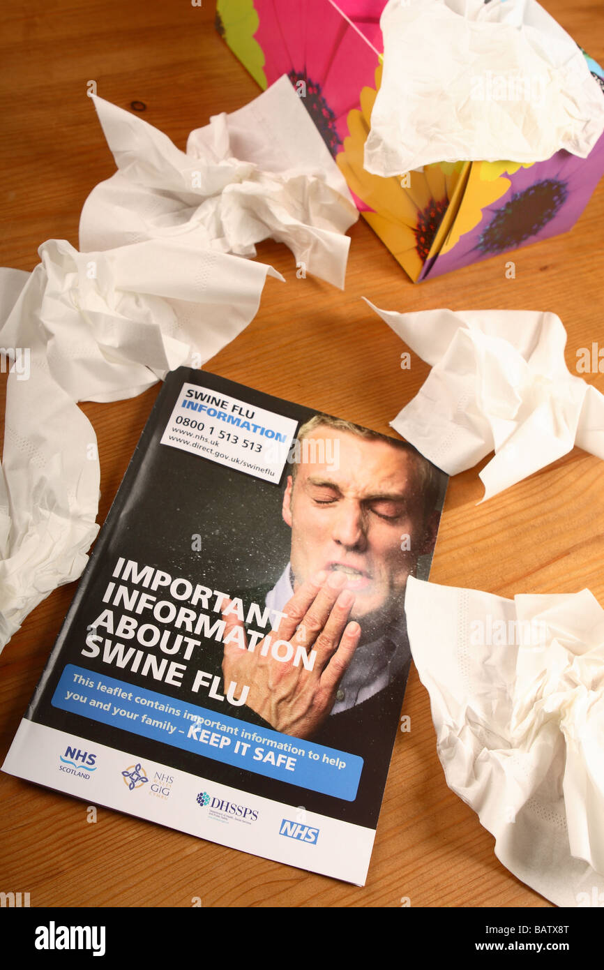Swine Flu information book leaflet booklet published by the UK British Government and NHS health service with tissues - Stock Image