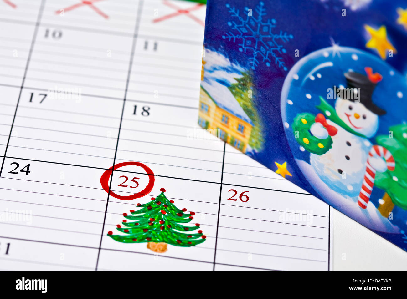 Christmas Day Drawing Images.Calendar With Drawing Of Christmas Tree Marking Christmas