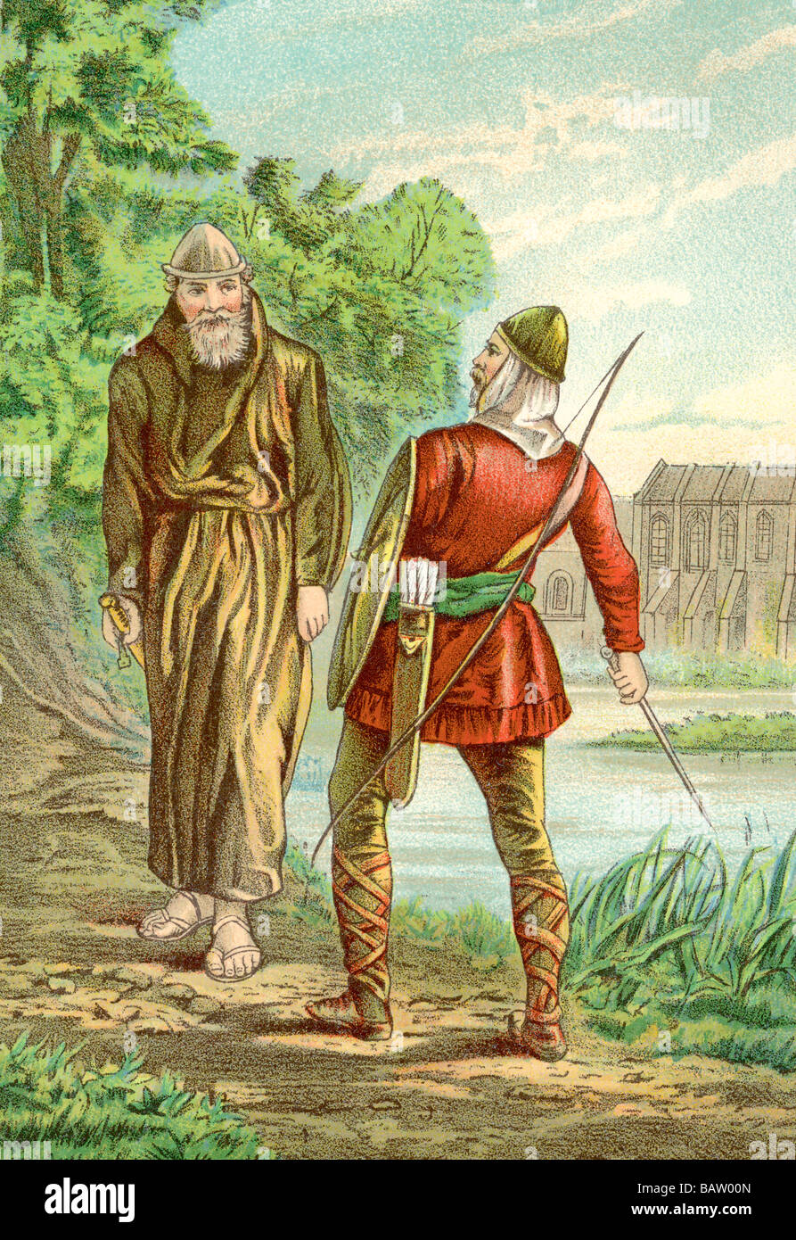 Friar Tuck and Robin Hood - Stock Image