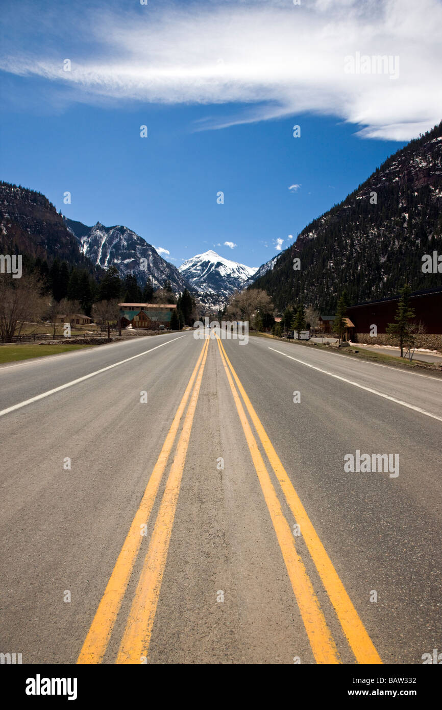 View of Highway 550 the Million Dollar Highway leading into the town of Ouray Colorado USA - Stock Image