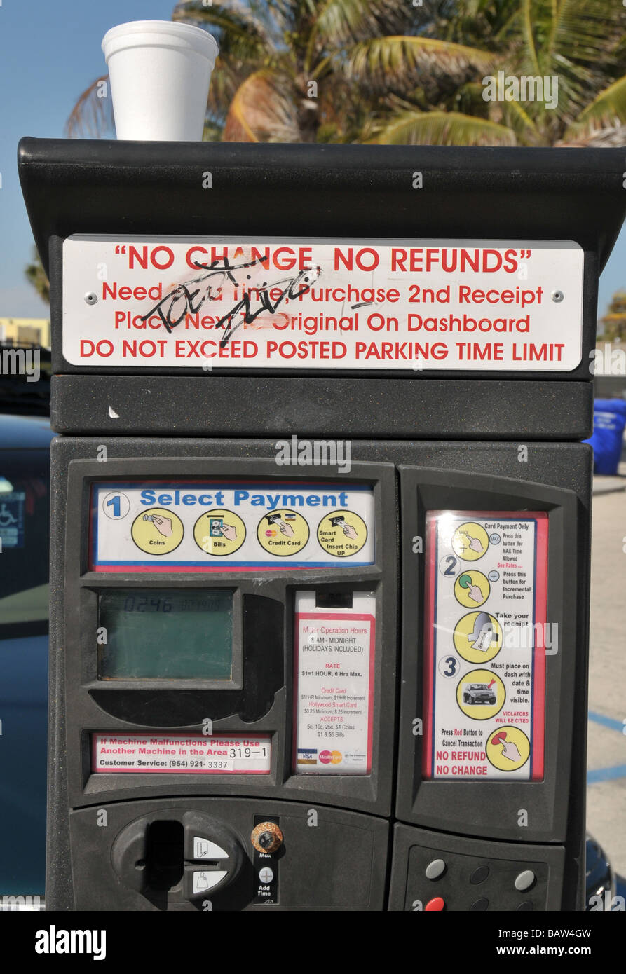 Coin operated parking permit vendor in Florida Stock Photo