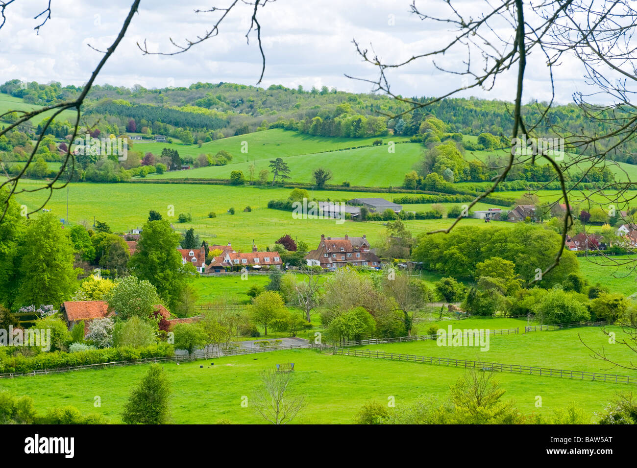 Turville Heath , panorama of Skirmett with fields , meadows & the rolling Chiltern Hills covered in trees - Stock Image