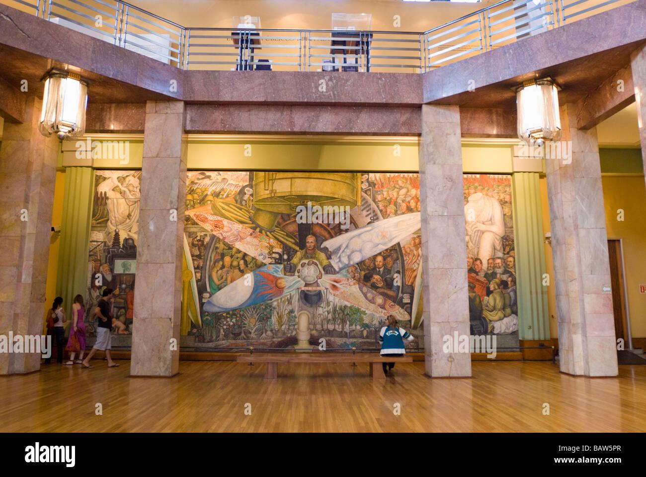 Palacio De Bellas Artes In Mexico City Interior Mural In Art Museum