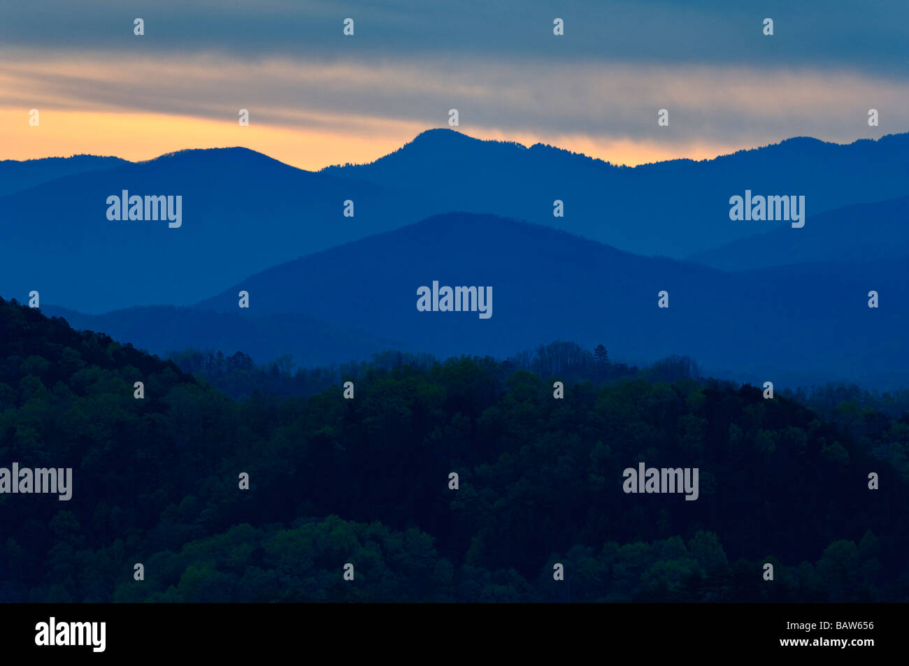 Sunrise from the Foothills Parkway in the Great Smoky Mountains National Park Tennessee - Stock Image