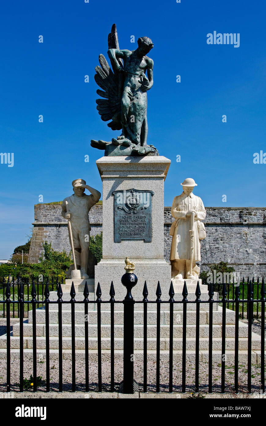 """the memorial monument for the """"royal marines"""" on the hoe at plymouth in devon,uk Stock Photo"""