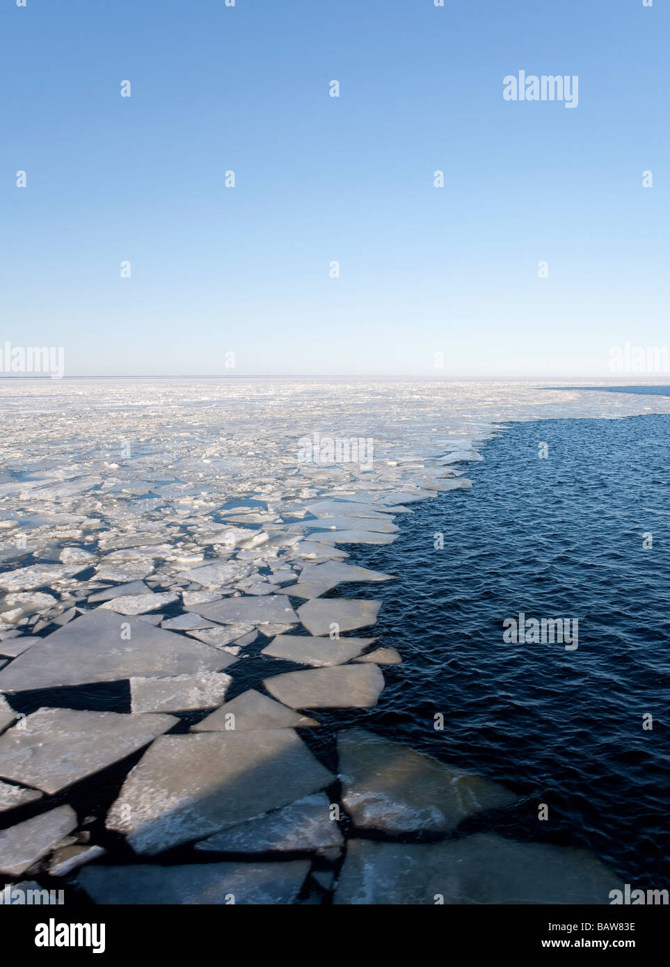 Breaking and melting sea ice at Gulf of Bothnia , Baltic Sea , Finland - Stock Image