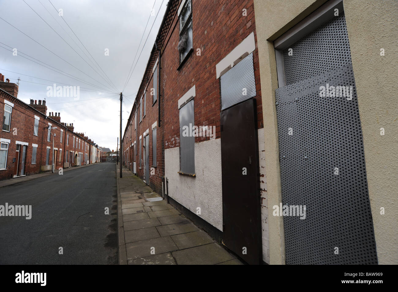 Run down houses ready for demolition, Goole near Hull UK - Stock Image