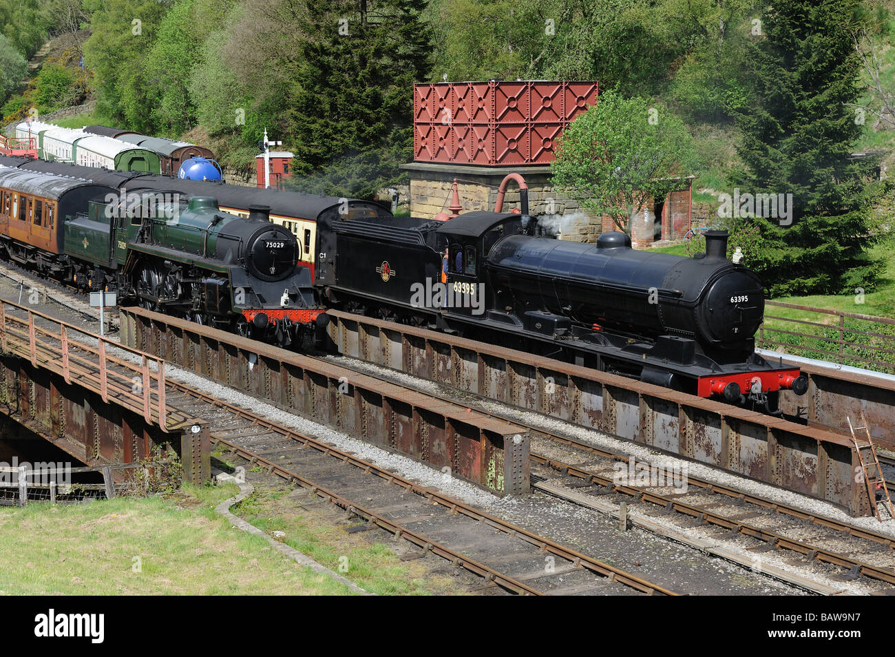 Preserved Steam locomotives at Goathland, North Yorkshire Moors Railway. 3rd May 2009 - Stock Image
