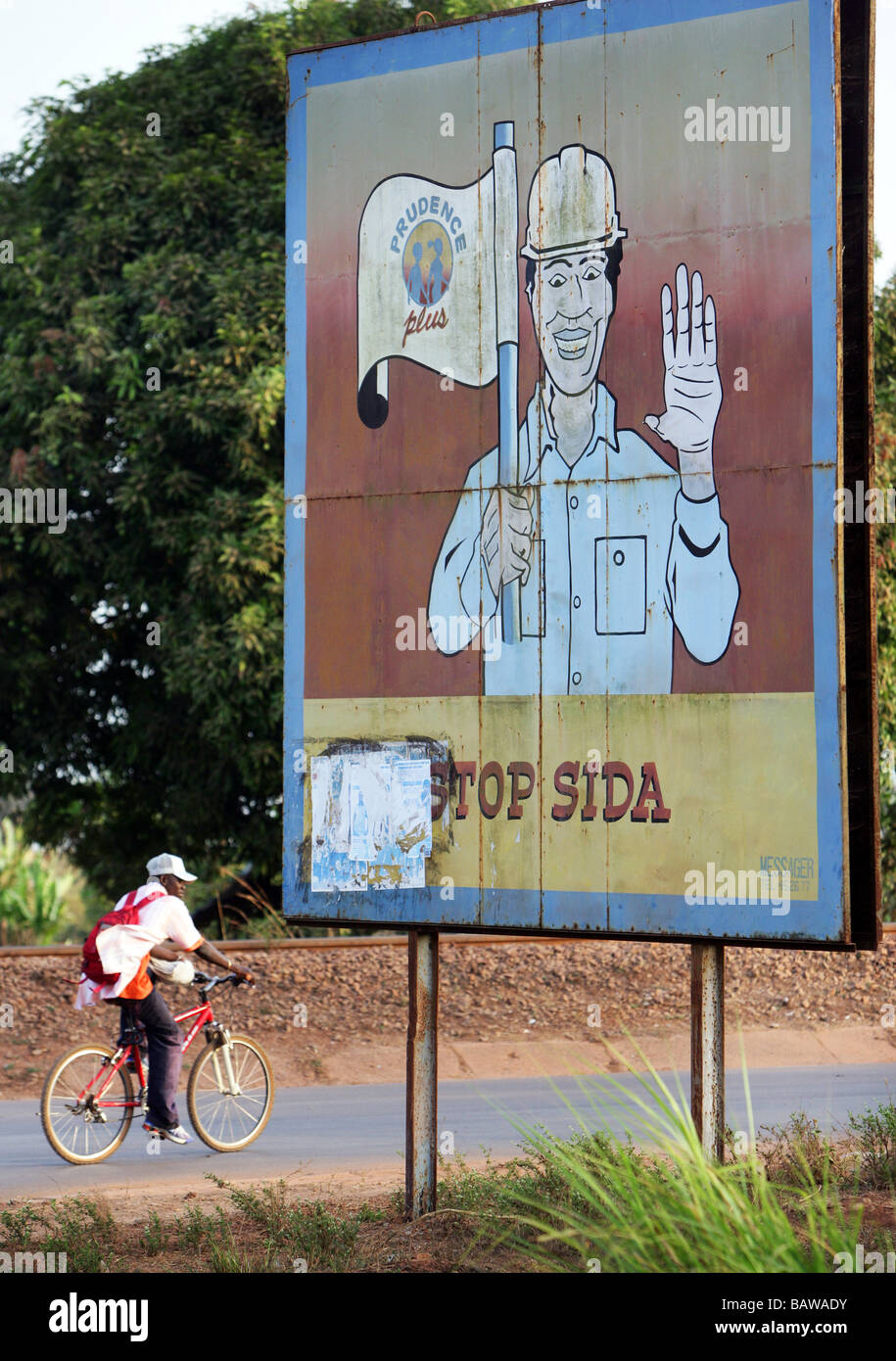 AIDS bilboard in Kamsar, Guinea, West Africa - Stock Image