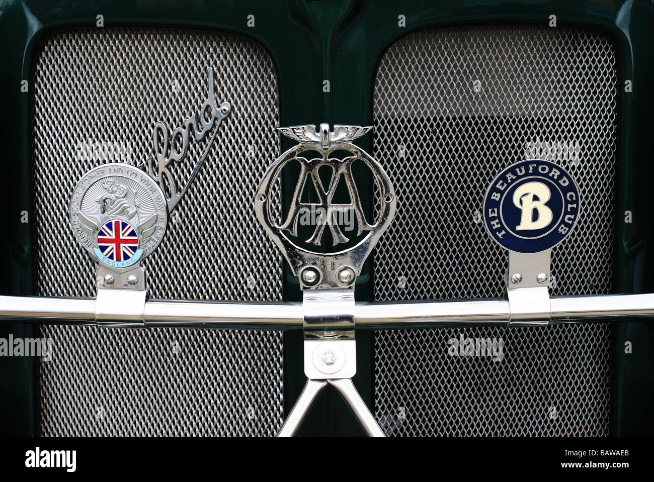 Classic British Beauford front grill with Beauford club badge and AA badge - Stock Image