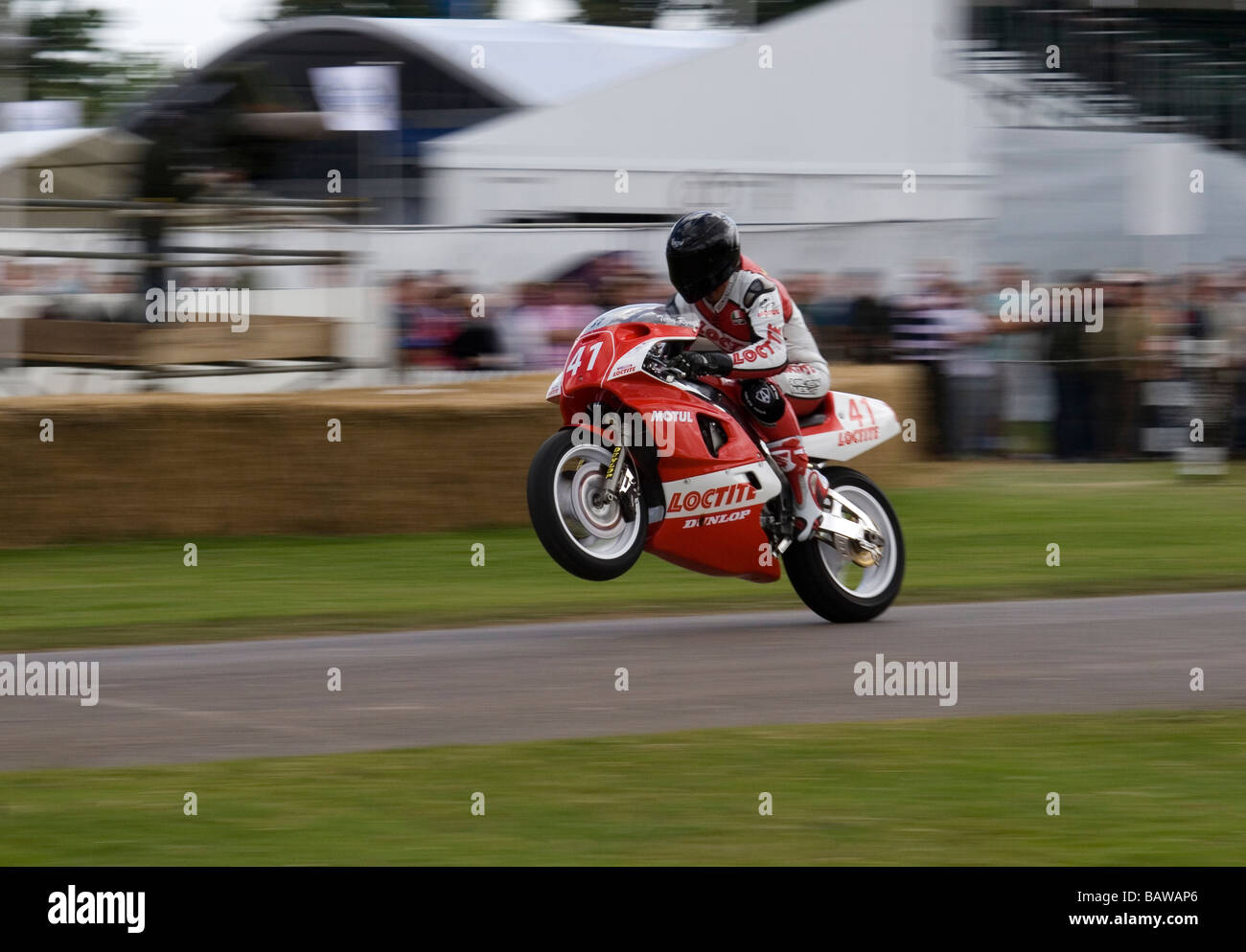 High Speed Motorbike Wheelie Under Acceleration At The Goodwood Festival Of  Speed England   Stock Image