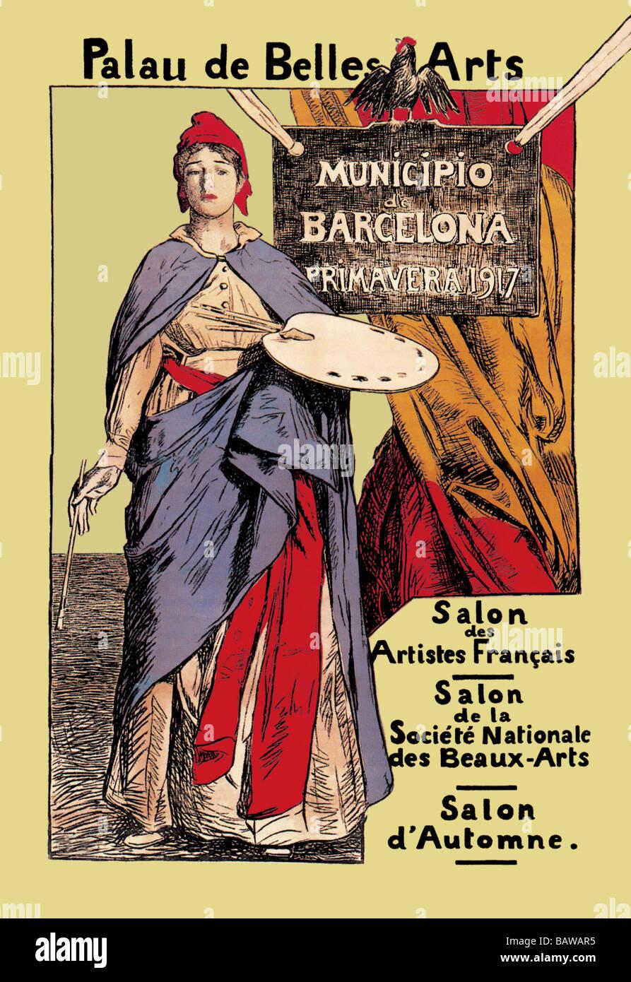 Palau de Belles Artes: Salon des Artistes Francais - Stock Image