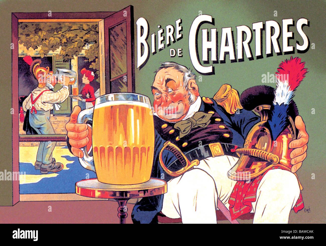 Beer Bieres De Chartres French Advert Sign
