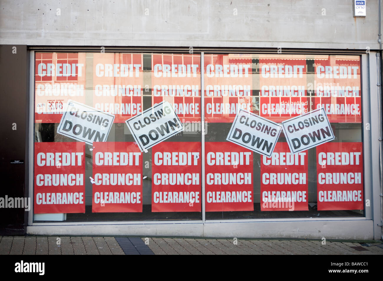 shop windows closed shops due to credit crunch recession great Britain UK economy downturn - Stock Image