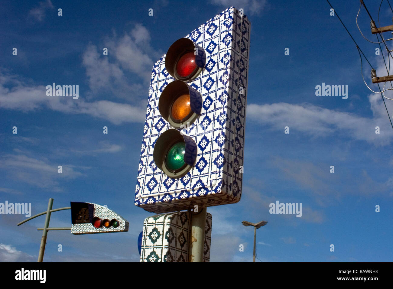 Traffic light made in the traditional Portuguese blue tiles style from the 17th century Sao Luis Maranhao Brazil - Stock Image