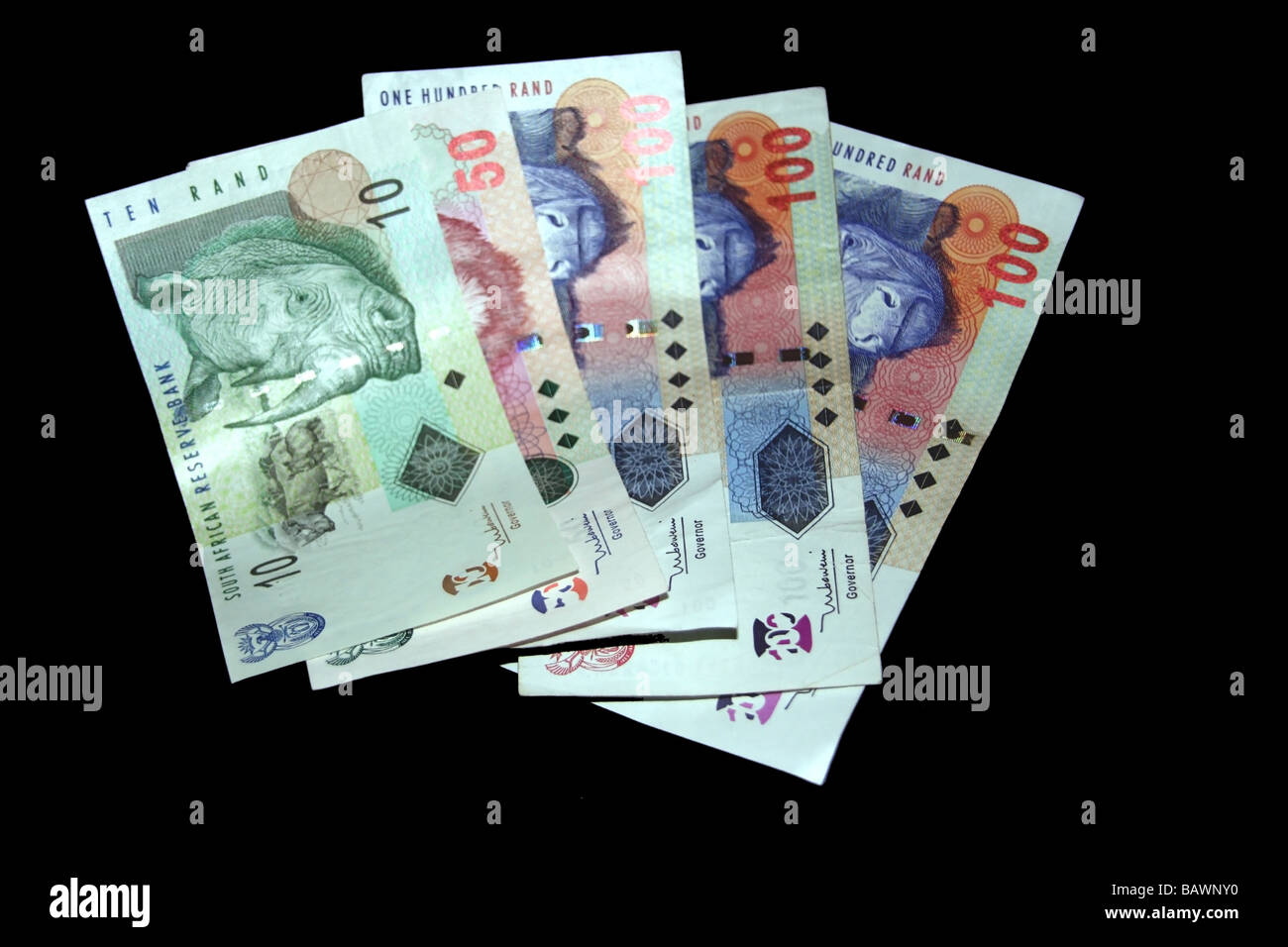 South African Money isolated on a black background - Stock Image