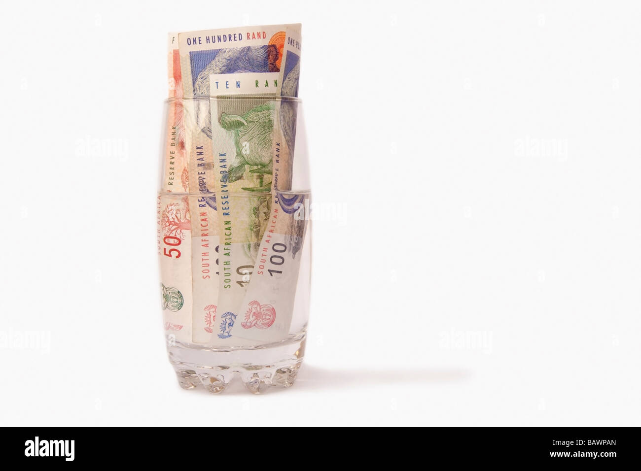 South African Money isolated on a white background - Stock Image