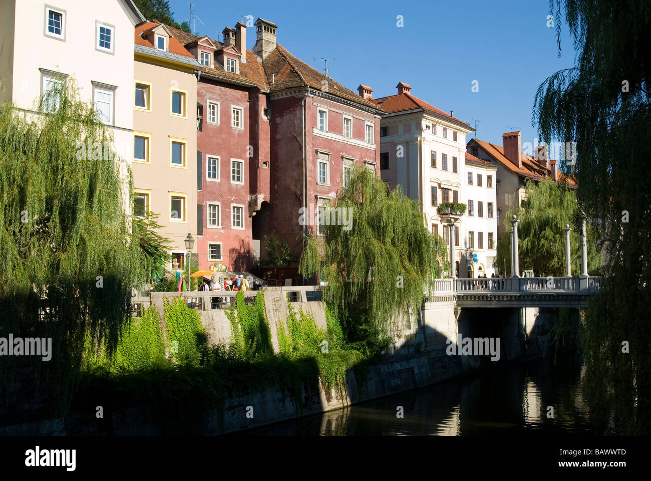 Various Architectural Styles Along the Ljubljanica River - Stock Image