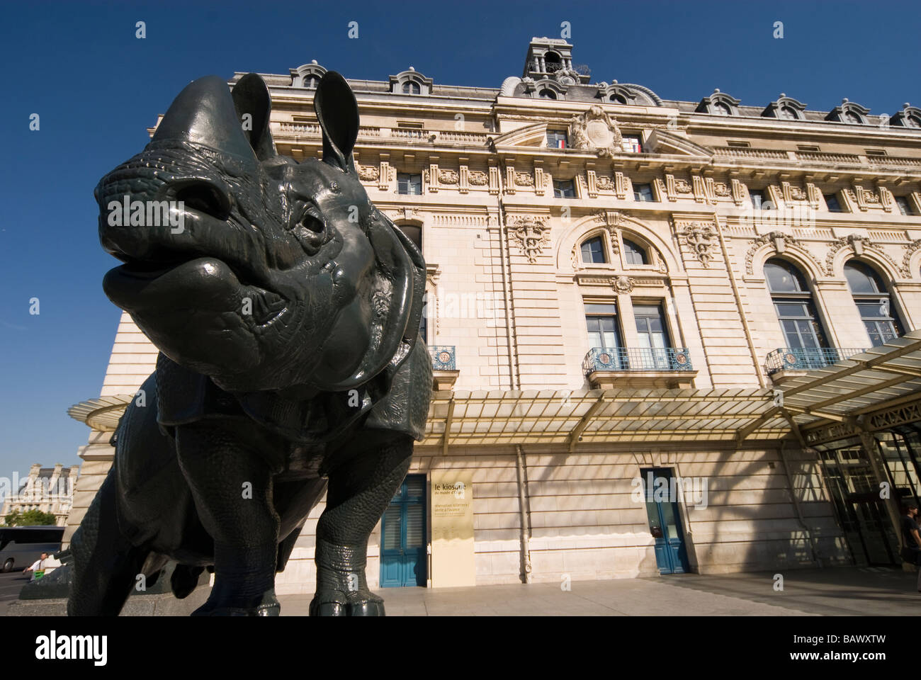 Exterior of Musee d'Orsay  Rhinoceros by Henri Alfred Jacquemart   Paris - Stock Image