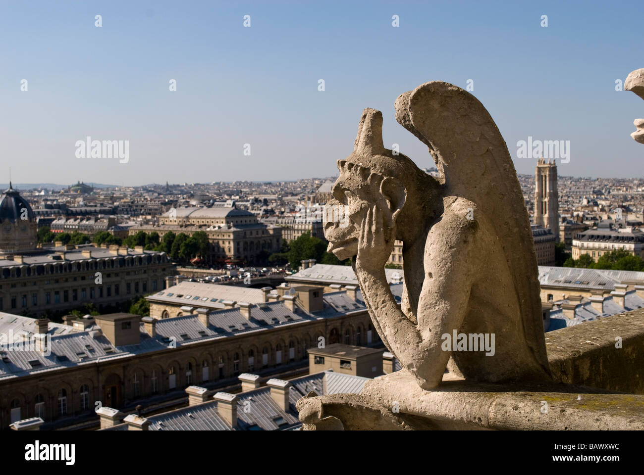 Gargoyle on notre dame cathedral paris - Stock Image