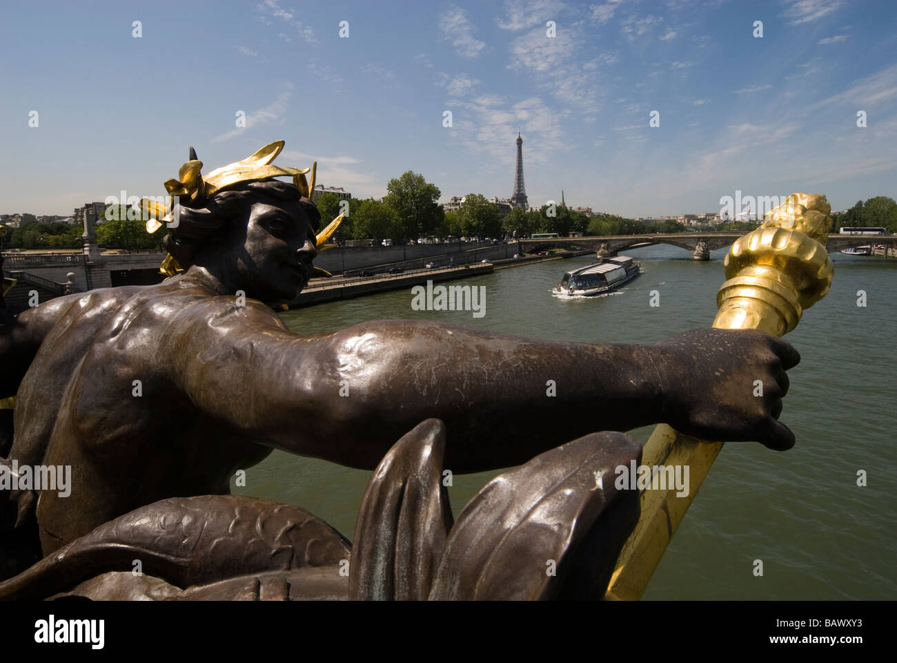 France, Paris, Banks of the Seine River listed as World Heritage by UNESCO, Statue on Alexander III Bridge and the Stock Photo