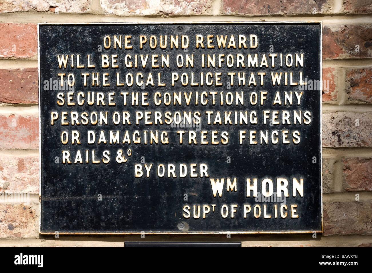 Railway sign offering a reward England United Kingdom GB Great Britain - Stock Image