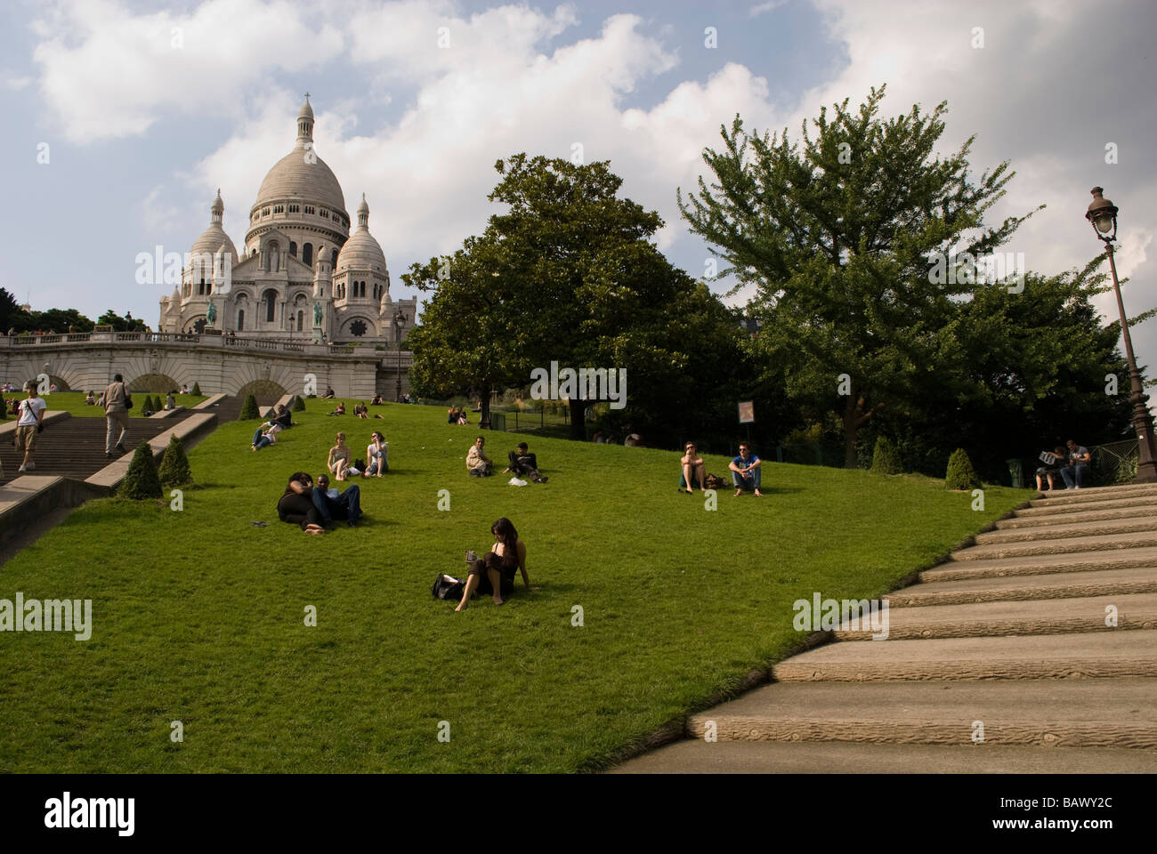 France - Basilica Sacre-Coeur  Basilica Sacre-Coeur on Montmartre hill in the French capital Paris - Stock Image