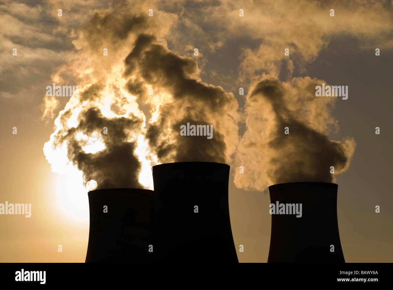 Cooling Towers of Nuclear Power Plant Stock Photo