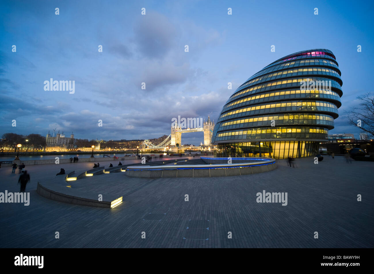 Greater London Authority at Night - Stock Image