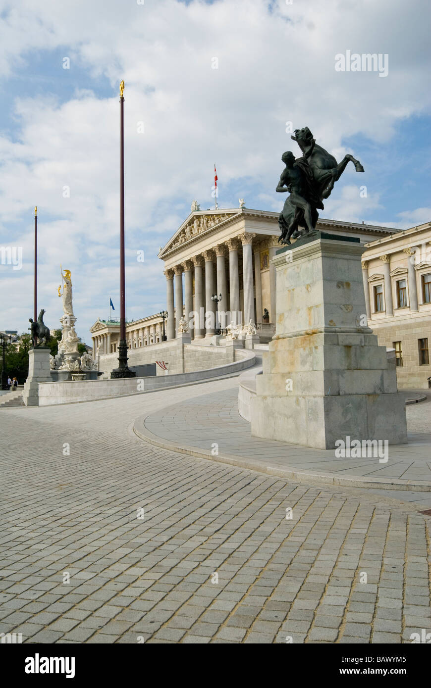 Pallas Athene Fountain by Carl Kundmann in Front of the Parliament Building Vienna - Stock Image