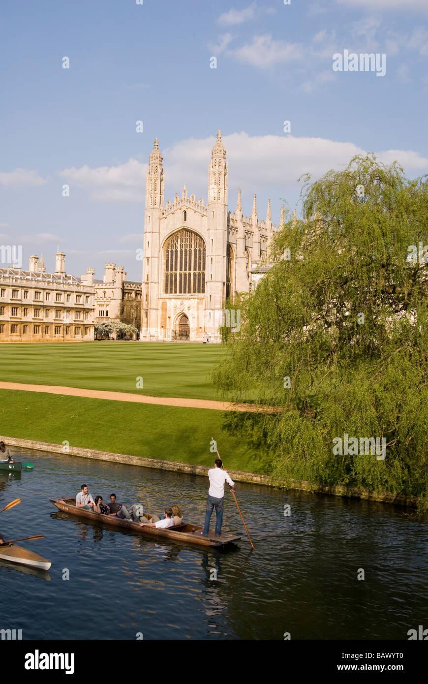 Tourist Punting Alongside Cambridge University - Stock Image