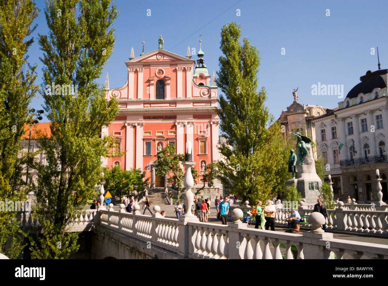 Slovenia, Ljubljana, Preseren Square, Church Of The Annunciation - Stock Image