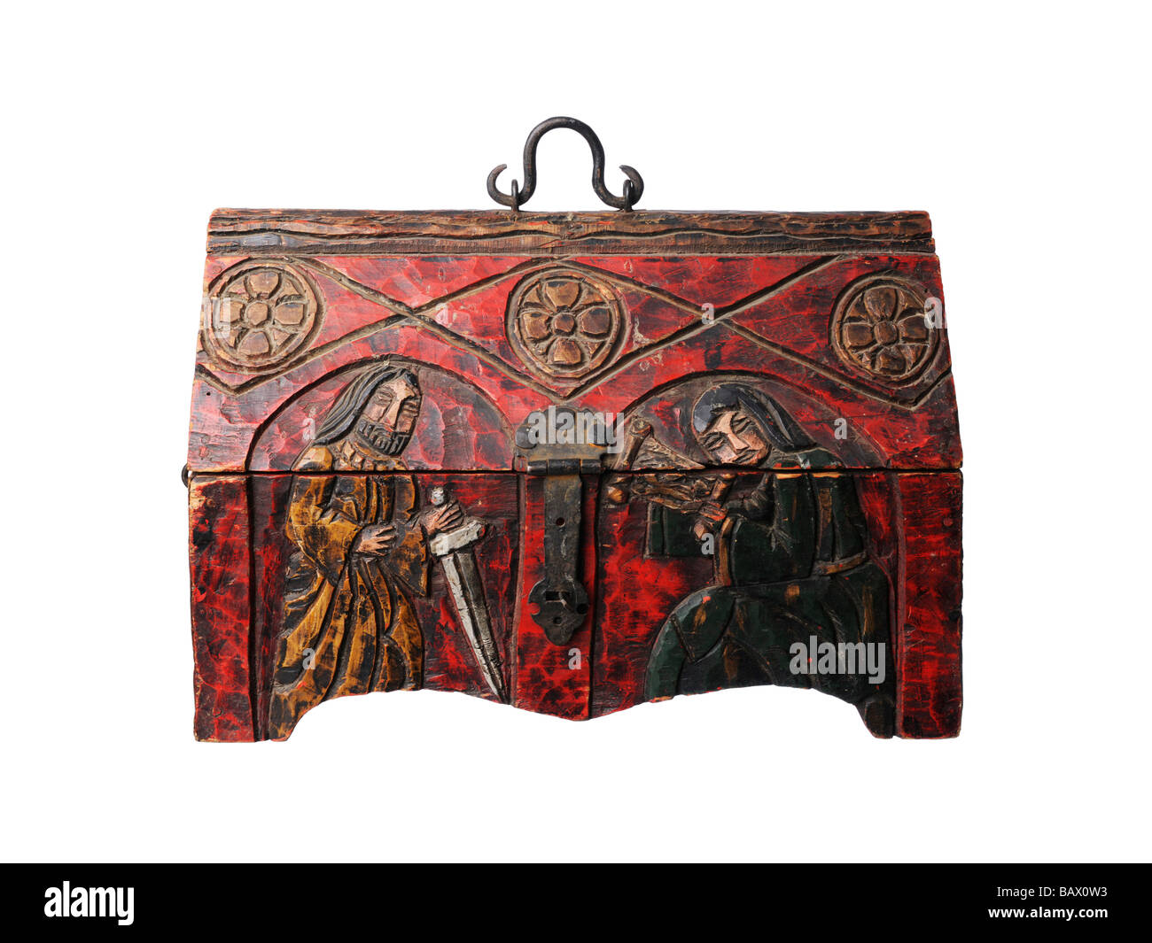 Vintage wooden holy treasure chest - Stock Image