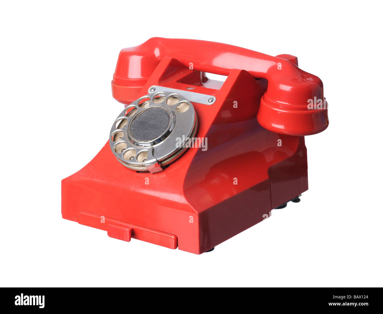 Vintage Red bakelite telephone - Stock Image